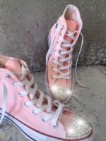 "Customised Crystal Adult's Converse ""Sparkle Pink"""