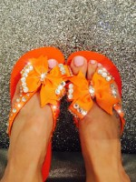 Customised Crystal Tangerine Havaianas with Bows