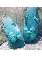 Customised Crystal Blue Havaianas with Bows 'Tiffany'