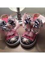 "Customised Crystal Converse ""Zebra Hello Kitty"""